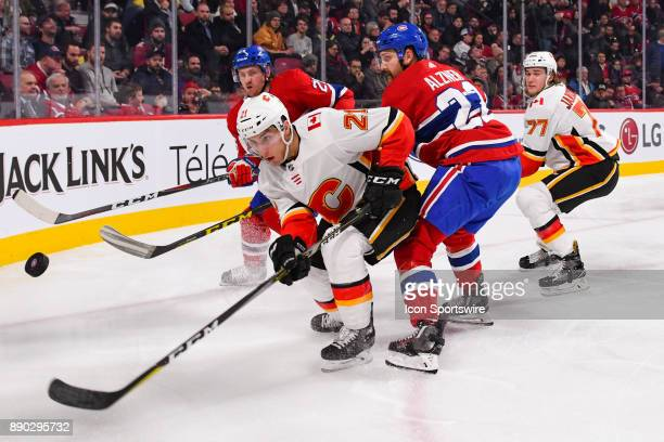 Calgary Flames Left Wing Garnet Hathaway looks at the puck in the air during the Calgary Flames versus the Montreal Canadiens game on December 7 at...