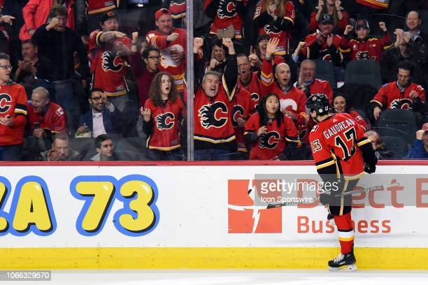 Calgary Flames Left Wing Johnny Gaudreau celebrates his goal during the third period of an NHL game where the Calgary Flames hosted the Dallas Stars...