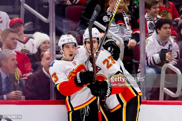 Calgary Flames left wing Johnny Gaudreau celebrates his goal with Calgary Flames center Sean Monahan during a game between the Calgary Flames and the...