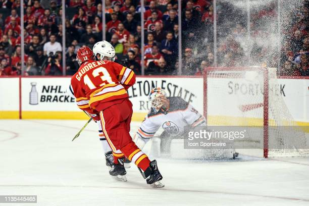 Calgary Flames Left Wing Johnny Gaudreau gets a shot on Edmonton Oilers Goalie Mikko Koskinen during the first period of an NHL game where the...