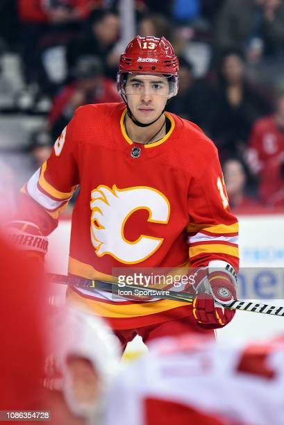 Calgary Flames Left Wing Johnny Gaudreau gets ready for the draw during the third period of an NHL game where the Calgary Flames hosted the Detroit...