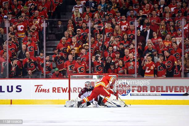 Calgary Flames Left Wing Johnny Gaudreau is stopped on a penalty shot by Colorado Avalanche Goalie Philipp Grubauer during the first period of Game...