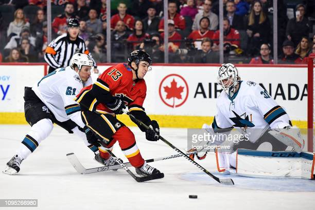 Calgary Flames Left Wing Johnny Gaudreau is tripped on a partial breakaway by San Jose Sharks Goalie Martin Jones during the third period of an NHL...