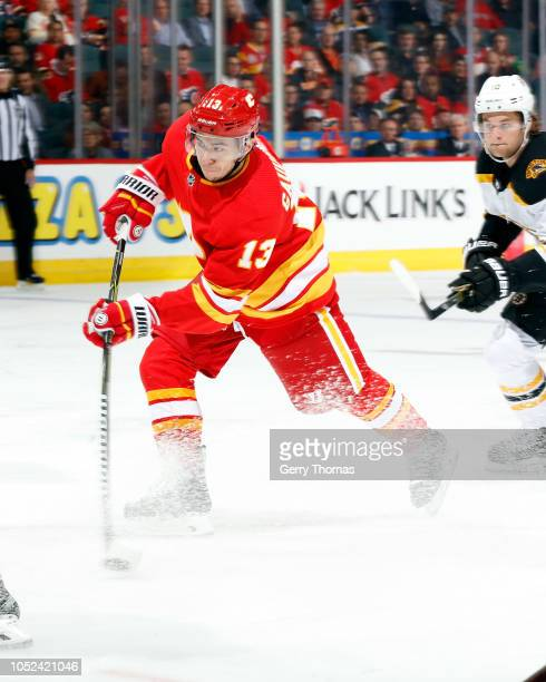 Calgary Flames Left Wing Johnny Gaudreau looks on during the second period of an NHL game against the Boston Bruins at the Scotiabank Saddledome on...