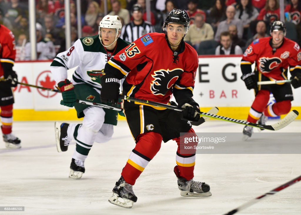Calgary Flames Left Wing Johnny Gaudreau (13) prepares to receive a pass during a game between the Calgary Flames and the Minnesota Wild on February 01, 2017, at the Scotiabank Saddledome, in Calgary AB.