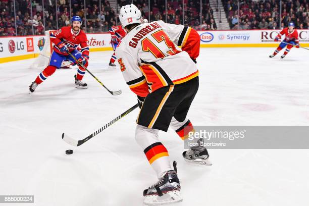 Calgary Flames Left Wing Johnny Gaudreau searches for a pass target during the Calgary Flames versus the Montreal Canadiens game on December 7 at...