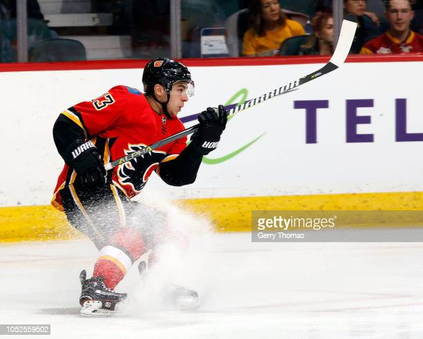 Calgary Flames Left Wing Johnny Gaudreau skates against the Nashville Predators during an NHL game on October 19 2018 at the Scotiabank Saddledome in...