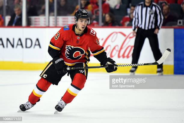 Calgary Flames Left Wing Johnny Gaudreau skates during the first period of an NHL game where the Calgary Flames hosted the Los Angeles Kings on...