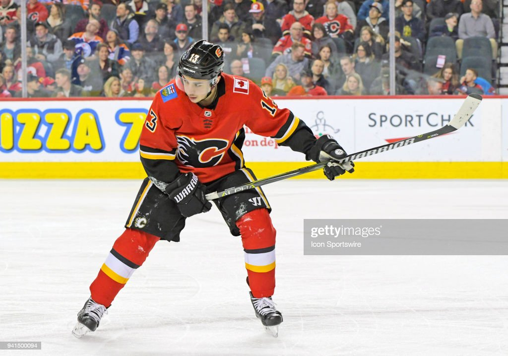 Calgary Flames Left Wing Johnny Gaudreau (13) skates during the first period against the Edmonton Oilers on Saturday, March 31, 2018 at the Scotiabank Saddledome in Calgary, AB. The Flames won the game 3-2.