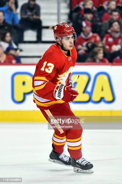 Calgary Flames Left Wing Johnny Gaudreau skates during the second period of an NHL game where the Calgary Flames hosted the New York Rangers on March...