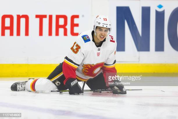Calgary Flames Left Wing Johnny Gaudreau stretches during warmup before National Hockey League action between the Calgary Flames and Ottawa Senators...
