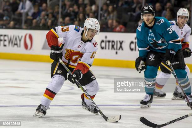 Calgary Flames left wing Johnny Gaudreau sweeps up ice during the third period of the regular season game between the San Jose Sharks and the Calgary...
