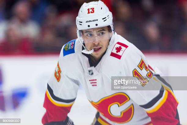 Calgary Flames Left Wing Johnny Gaudreau waits for a faceoff during second period National Hockey League action between the Calgary Flames and Ottawa...