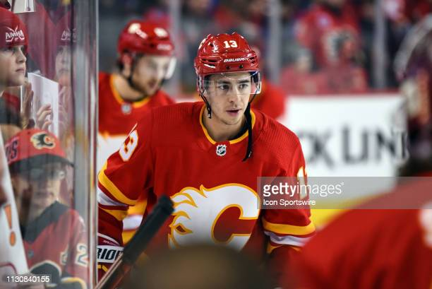 Calgary Flames Left Wing Johnny Gaudreau warms up before an NHL game where the Calgary Flames hosted the New York Rangers on March 15 at the...
