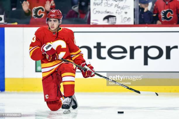 Calgary Flames Left Wing Johnny Gaudreau warms up before an NHL game where the Calgary Flames hosted the Edmonton Oilers on April 6 at the Scotiabank...