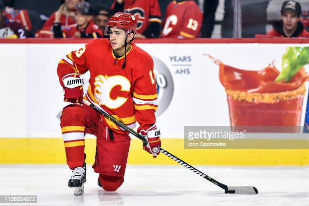 Calgary Flames Left Wing Johnny Gaudreau warms up before Game Five of the Western Conference First Round during the 2019 Stanley Cup Playoffs where...