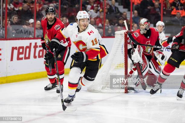 Calgary Flames Left Wing Matthew Tkachuk follows the play during first period National Hockey League action between the Calgary Flames and Ottawa...