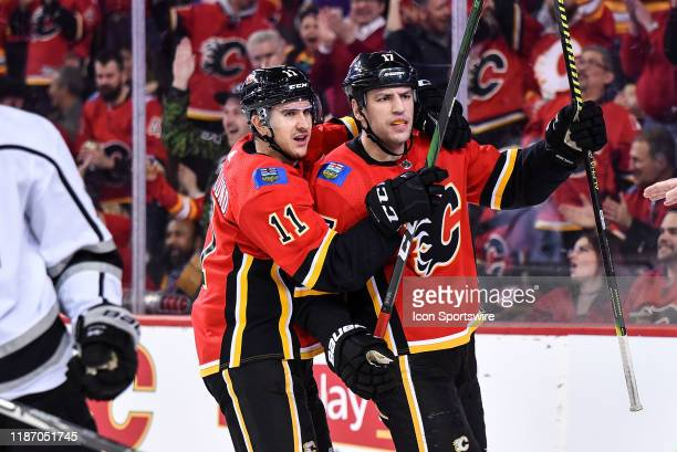Calgary Flames Left Wing Milan Lucic celebrates a power play goal against the Los Angeles Kings with Calgary Flames Center Mikael Backlund during the...