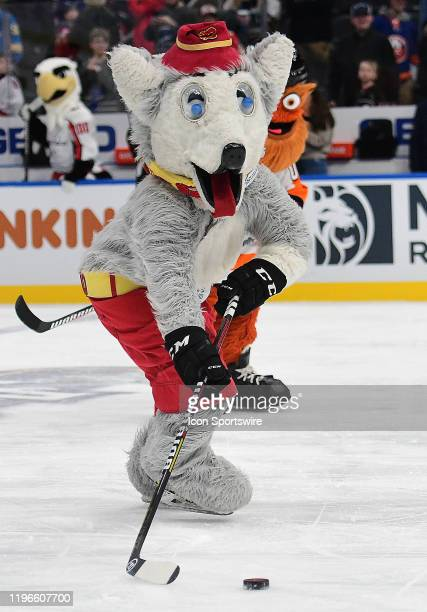 Calgary Flames mascot Harvey the Hound played in the NHL Mascots Game during the NHL All-Star Game, at Enterprise Center, St. Louis, Mo., on January...
