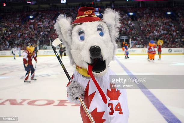 Calgary Flames mascot 'Harvey the Hound' skates during the McDonalds/NHL AllStar Open Practice during the 2009 NHL AllStar weekend on Jaunary 24 2009...