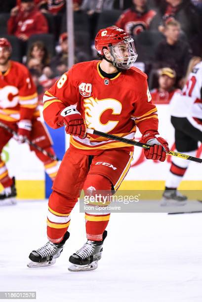 Calgary Flames Right Wing Andrew Mangiapane skates during the first period of an NHL game where the Calgary Flames hosted the Ottawa Senators on...