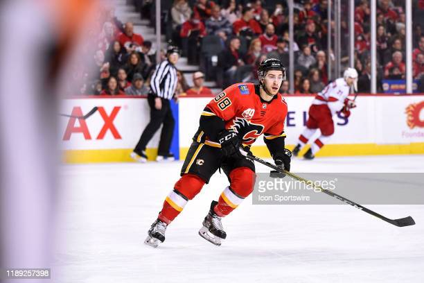 Calgary Flames Right Wing Andrew Mangiapane skates during the second period of an NHL game where the Calgary Flames hosted the Carolina Hurricanes on...
