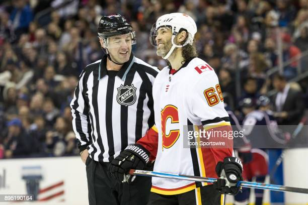Calgary Flames right wing Jaromir Jagr has a word with an official in the second period of a game between the Columbus Blue Jackets and the Calgary...