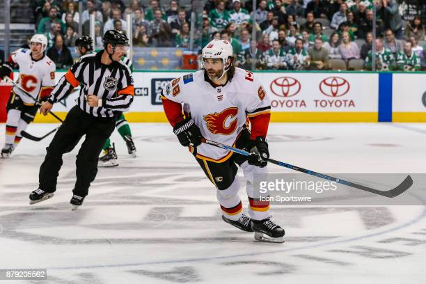 Calgary Flames right wing Jaromir Jagr skates up the ice during the game between the Dallas Stars and the Calgary Flames on November 24 2017 at the...