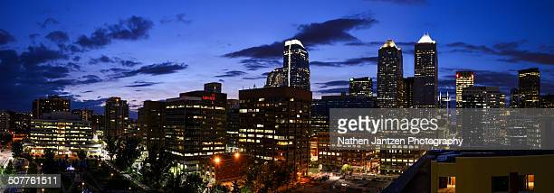 calgary panorama @ twilight - beltline stock pictures, royalty-free photos & images