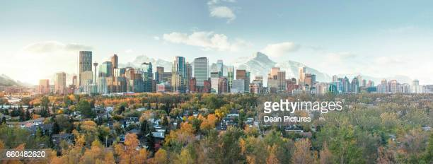 calgary skyline - canadian culture stock pictures, royalty-free photos & images