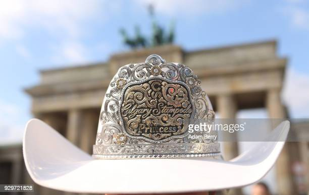 2018 Calgary Stampede Princess Jaden Holle poses at the Brandenburg Gate as the group visits Germany to participate in the Internationale...