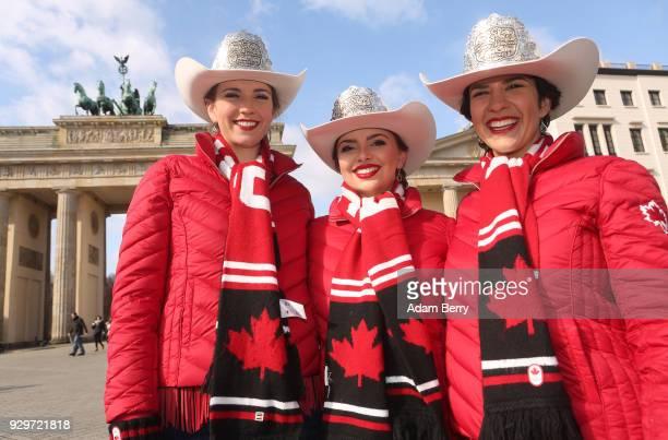 2018 Calgary Stampede Princess Jessica Wilson 2018 Calgary Stampede Queen Lindsay Lockwood and 2018 Calgary Stampede Princess Jaden Holle pose at the...