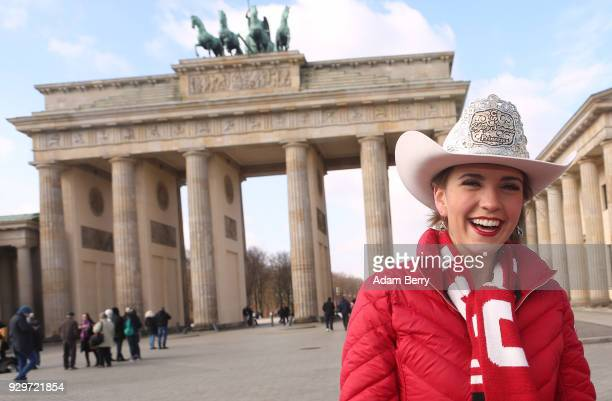 2018 Calgary Stampede Princess Jessica Wilson poses at the Brandenburg Gate as the group visits Germany to participate in the Internationale...