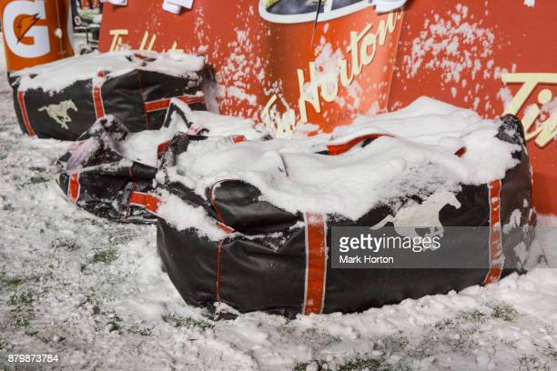 Calgary Stampeders equipment under the snow during the 105th Grey Cup Championship Game between the Calgary Stampeders and the Toronto Argonauts at...