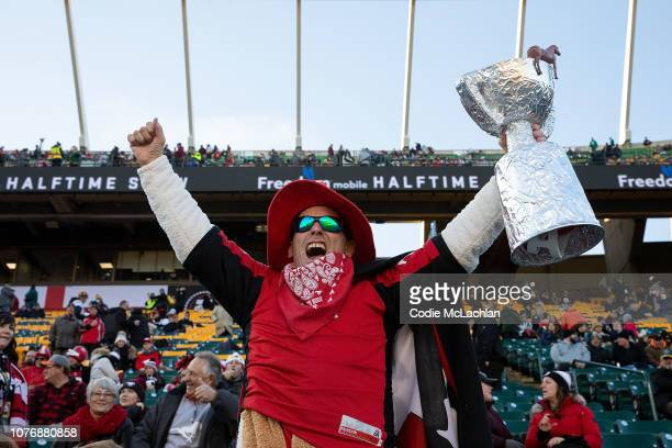 Calgary Stampeders fans before the game against Ottawa Redblacks during the Grey Cup at Commonwealth Stadium on November 25 2018 in Edmonton Alberta...