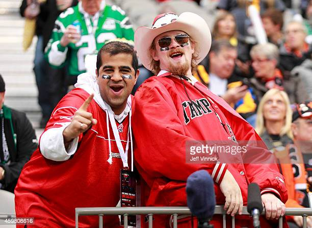Calgary Stampeders fans enjoy the 102nd Grey Cup Championship Game at BC Place November 30 2014 in Vancouver British Columbia Canada