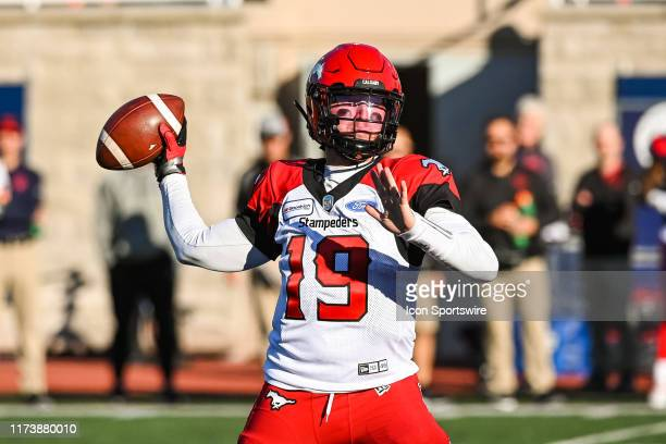 Calgary Stampeders quarterback Bo Levi Mitchell passes the ball during the Calgary Stampeders versus the Montreal Canadiens game on October 05 at...