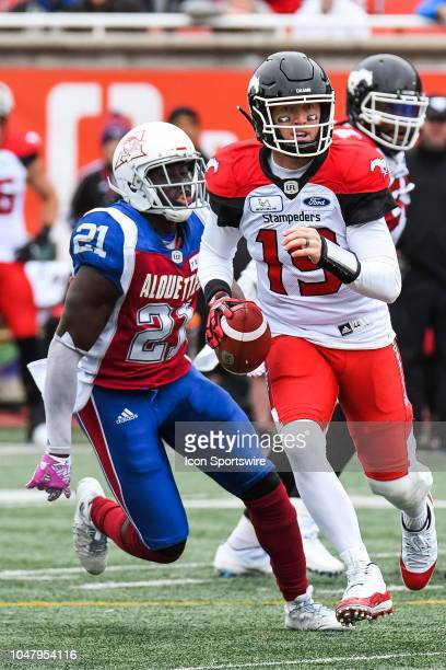 Calgary Stampeders Quarterback Bo Levi Mitchell runs in control of the ball during the Calgary Stampeders versus the Montreal Alouettes game on...