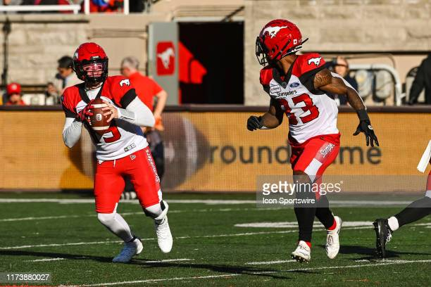 Calgary Stampeders quarterback Bo Levi Mitchell tracks his pass target during the Calgary Stampeders versus the Montreal Canadiens game on October 05...