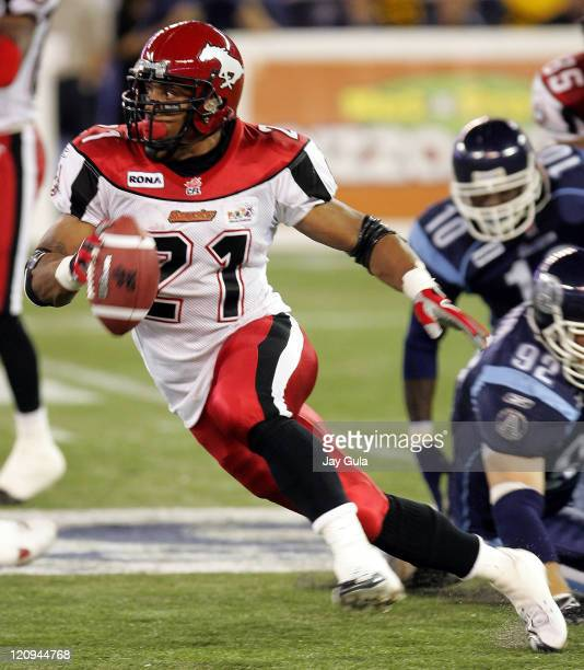 Calgary Stampeders Running Back Joffrey Reynolds runs for a big gain during a game against Toronto at Rogers Centre in Toronto, Canada on August 24,...