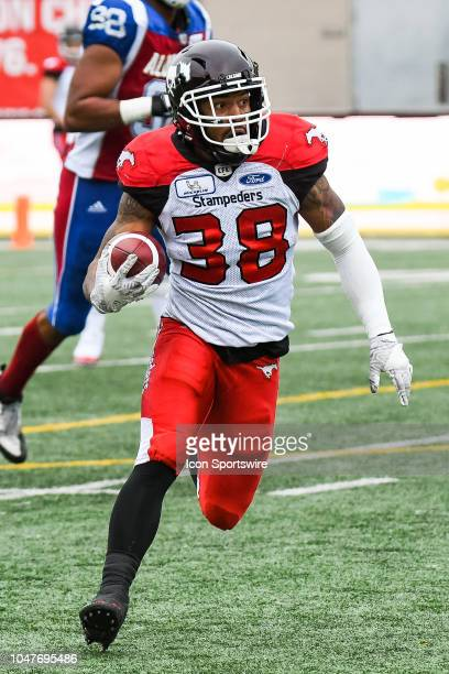 Calgary Stampeders Running back Terry Williams runs with the ball during the Calgary Stampeders versus the Montreal Alouettes game on October 8 at...