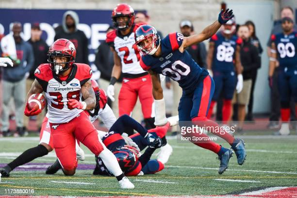 Calgary Stampeders running back Terry Williams runs with the ball during the Calgary Stampeders versus the Montreal Canadiens game on October 05 at...