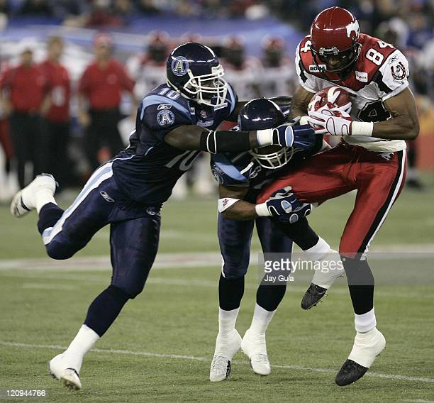 Calgary Stampeders slotback Nikolas Lewis makes a catch vs the Toronto Argonauts in CFL action at Rogers Centre in Toronto Canada September 30 2006