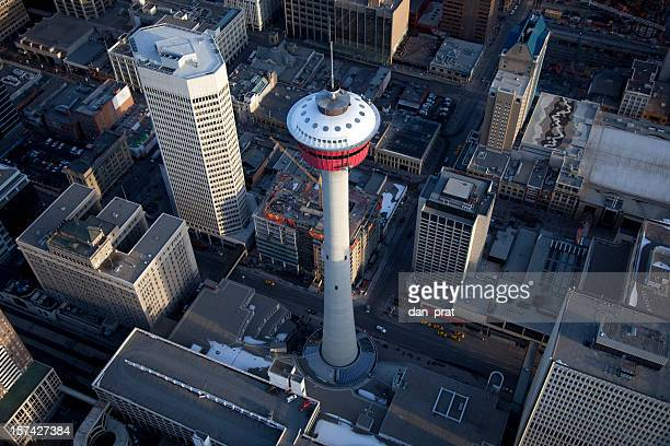 calgary tower aerial view - calgary stock pictures, royalty-free photos & images