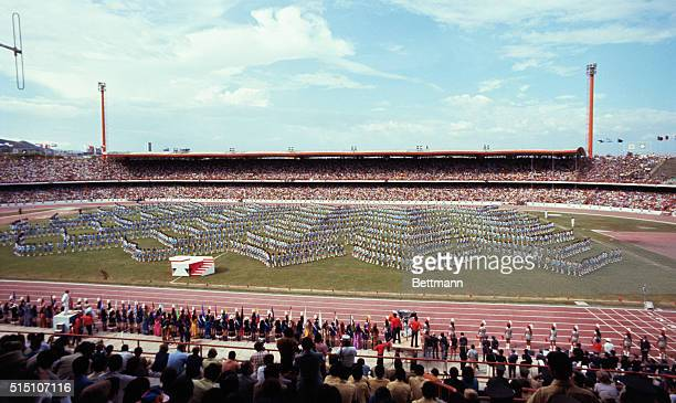 General view of Pascual Guerrero Stadium during opening day ceremonies for the 1971 Pan American Games Mass gymnastics hulahoopers etc