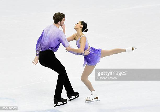 Cali Fujimoto and Nicholas BarsiRhyne compete in the Pairs' Free Skate at the 2016 Prudential US Figure Skating Championship on January 23 2016 at...