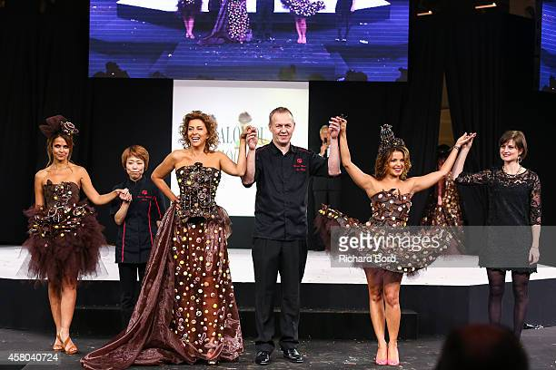 Cali Morales chocolate maker Keiko Rihara Corrine Touzet JeanMarc Rue Severine Ferrer and stylist Manon BressonCancel walk the runway during the...