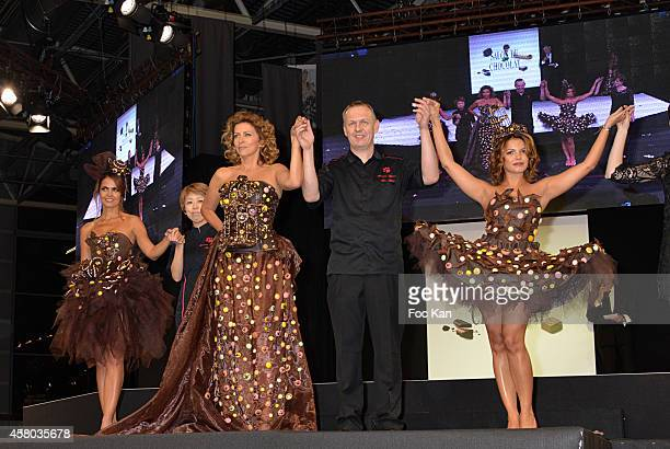 Cali Morales Corinne Touzey Severine Ferrer and Monsieur Chocolat chef and stylists attend the 'Salon Du Chocolat Chocolate Fair 20th Anniversary' At...