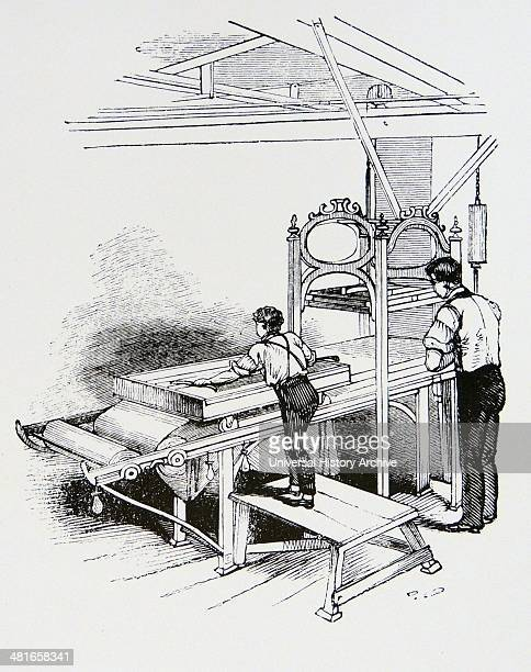 Calico printing by blocking press With this machine operated by a man and his boy assistant approximately a metre of fabric could be printed with all...