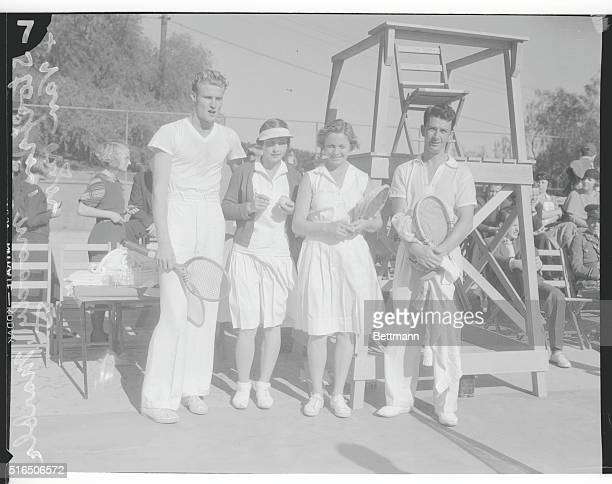 A Capable Quartet Four of the best tennis players in the country pose for their pictures during the opening of the Hotel Huntington Tennis Tourney at...
